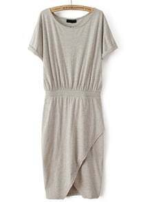 Grey Short Sleeve Split Bodycon Dress