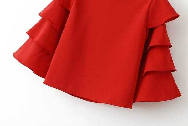 f8af91a838 Red Cascading Ruffle Sleeve Crop Top. AddThis Sharing Buttons