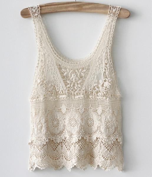 Free Crochet Pattern Lace Vest : Beige Sleeveless Crochet Lace Vest -SheIn(Sheinside)