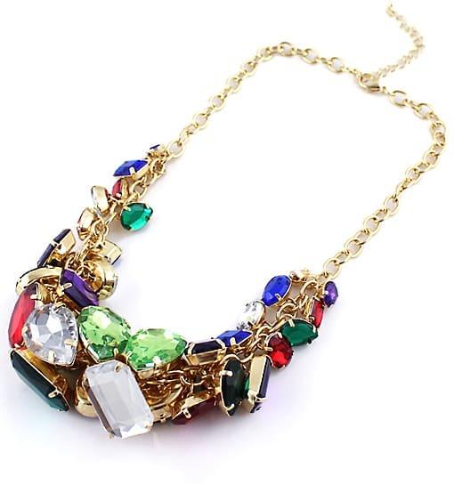 multicolor gemstone gold chain necklace shein sheinside