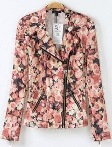 Red Long Sleeve Zipper Floral Jacket