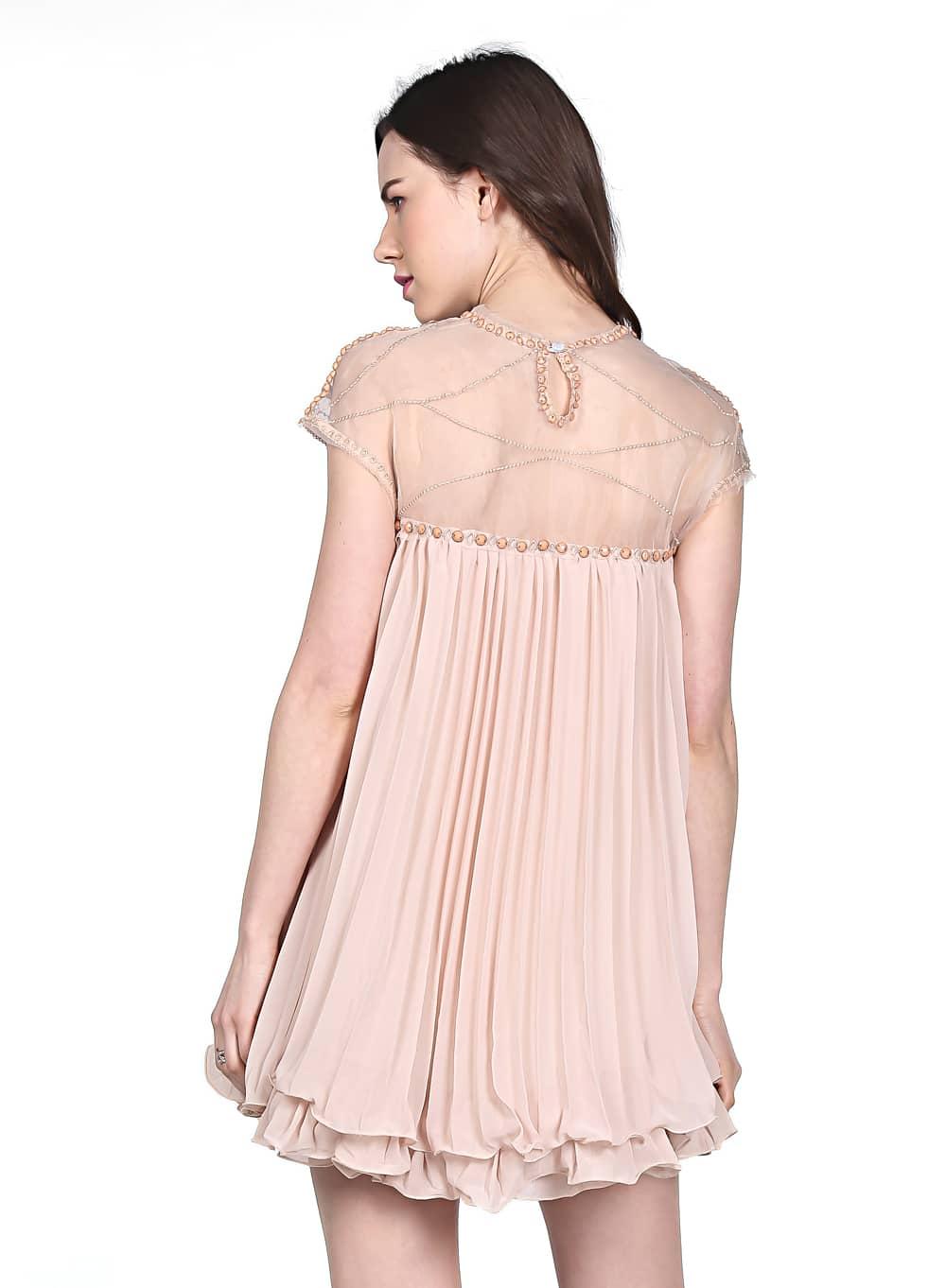 Vestido gasa plisado combinada-Arena-Spanish SheIn(Sheinside)