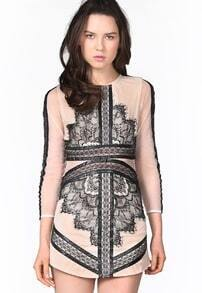 Black Long Sleeve Contrast Eyelash Lace Mesh Pencil Dress