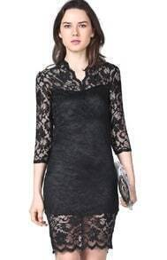 Black Vintage Lace Fitted Dress