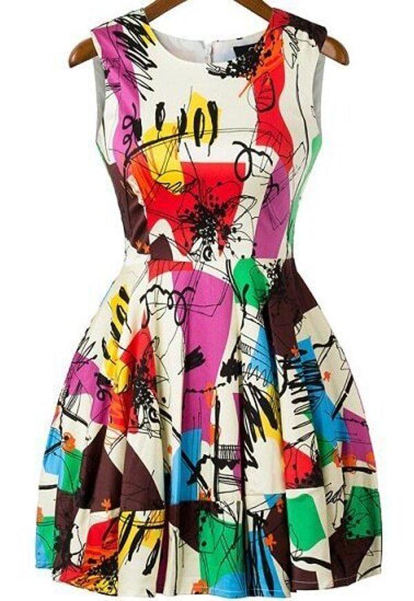 Multicolor Fling Sleeveless Graffiti Print Flare Short Dress Shein