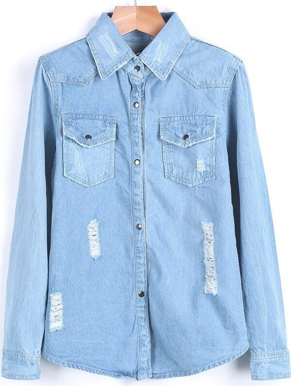 e3f898b73dc Light Blue Long Sleeve Ripped Pockets Denim Blouse -SheIn(Sheinside)