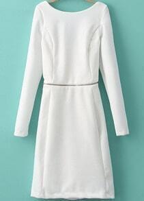 White Long Sleeve Backless Zipper Bodycon Dress