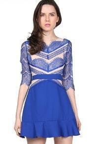 Blue Contrast Hollow Long Sleeve Eyelash Lace Ruffle Dress