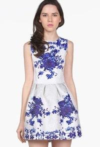 White Sleeveless Porcelain Hibiscus Print Flare Dress