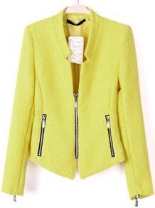 Yellow Collarless Long Sleeve Zipper Suit