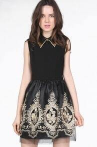 Black Lapel Sleeveless Zipper Embroidery Dress