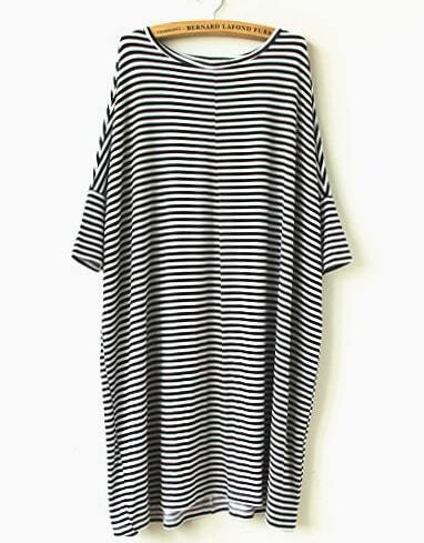 589f3c9855a2 Black White Striped Loose Dress