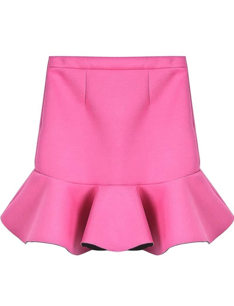 pink ruffle high low skirt shein sheinside