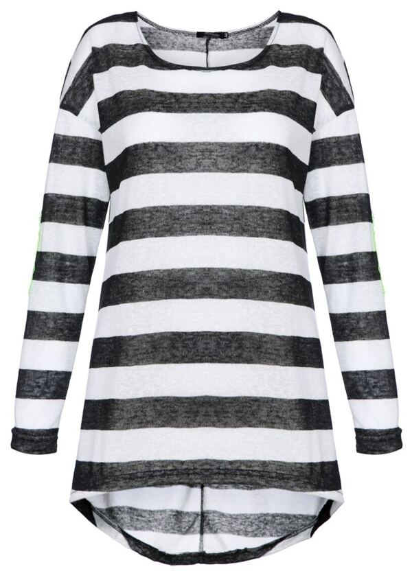 black and white striped long sleeve t shirt