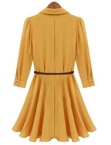 yellow half sleeve belt ruffle dress shein sheinside