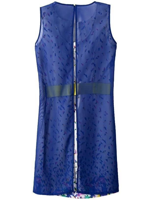 white blue sleeveless belt geometric print dress shein