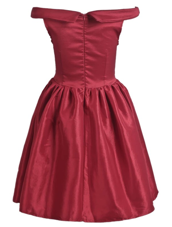 4a7a87de44 Red Off The Shoulder Flare Short Dress   SHEIN IN