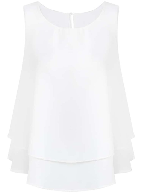 1d4a4c3e99a14 White Sleeveless Double Layers Chiffon Vest -SheIn(Sheinside)