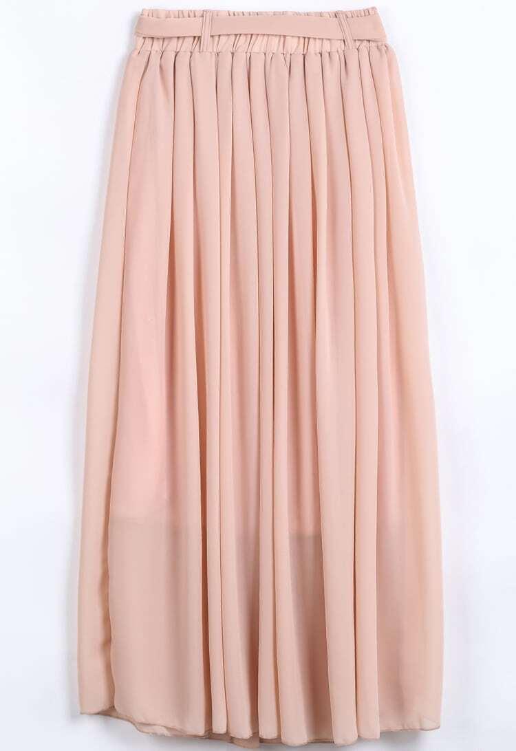 pink elastic waist drawstring pleated chiffon skirt shein