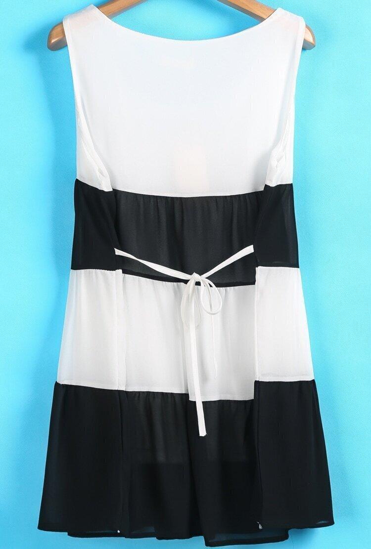 Black white striped sleeveless chiffon sundress shein sheinside