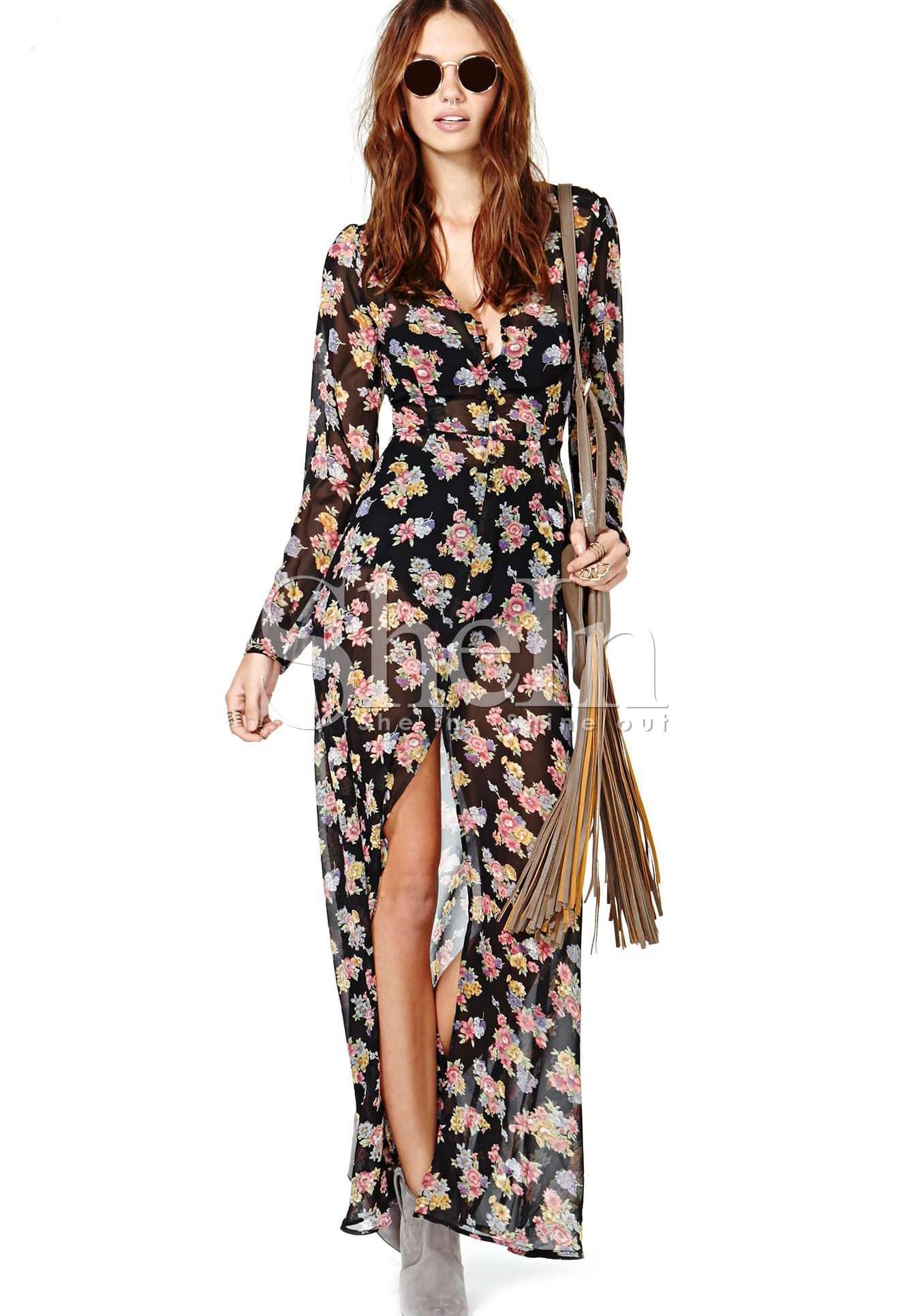 Black Long Sleeve Floral Split Full Length Dress Shein