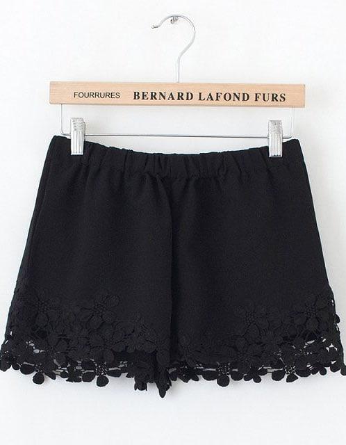 Black Lace Floral Crochet Shorts Shein