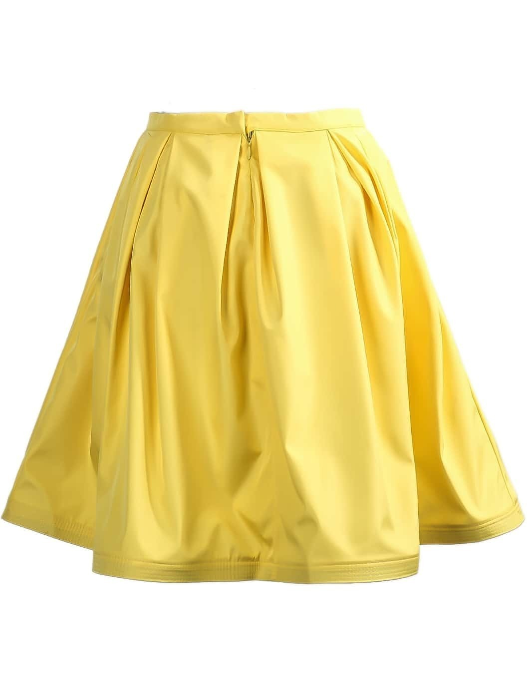 yellow bow embellished a line skirt shein sheinside