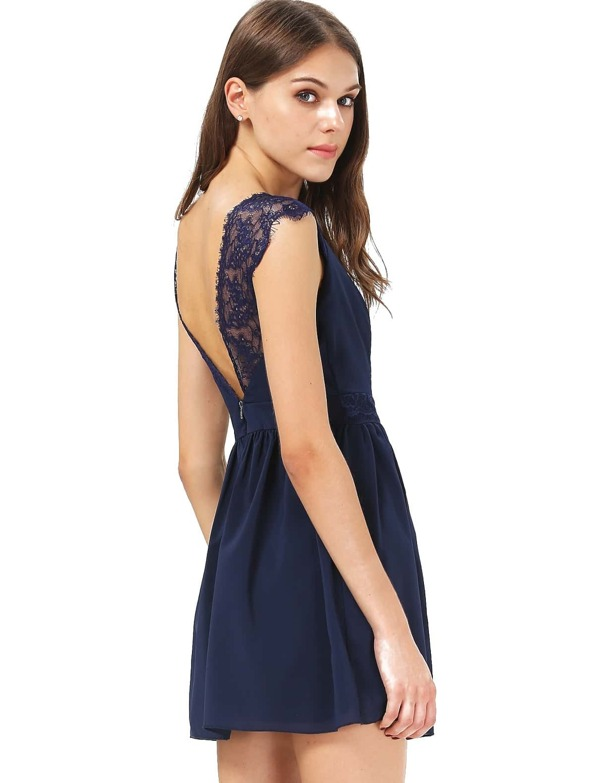 b7fec339720d Blue Contrast Lace Backless Chiffon Dress | SHEIN