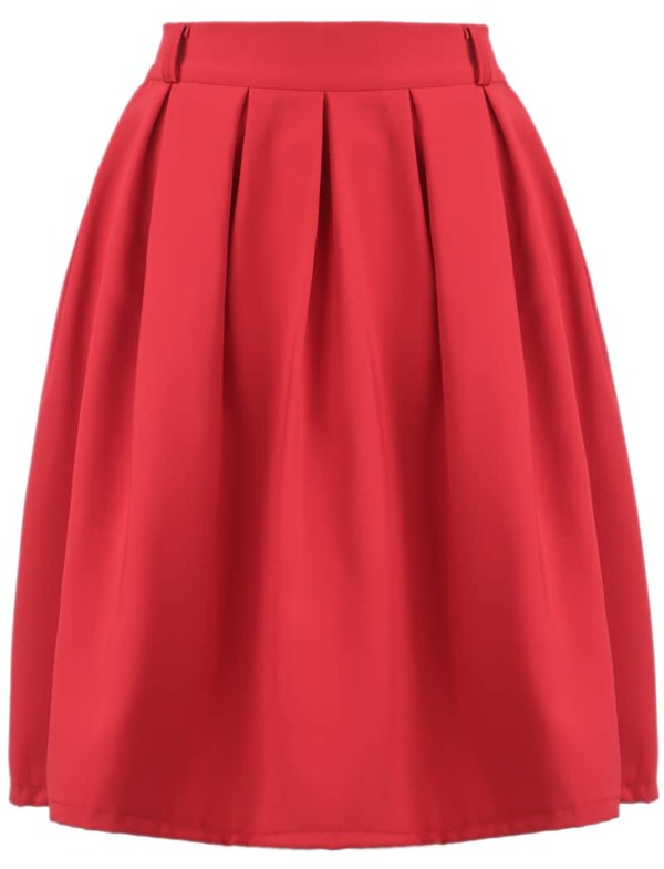 b7e432d4a Red Simple Design Pleated Skirt | SHEIN