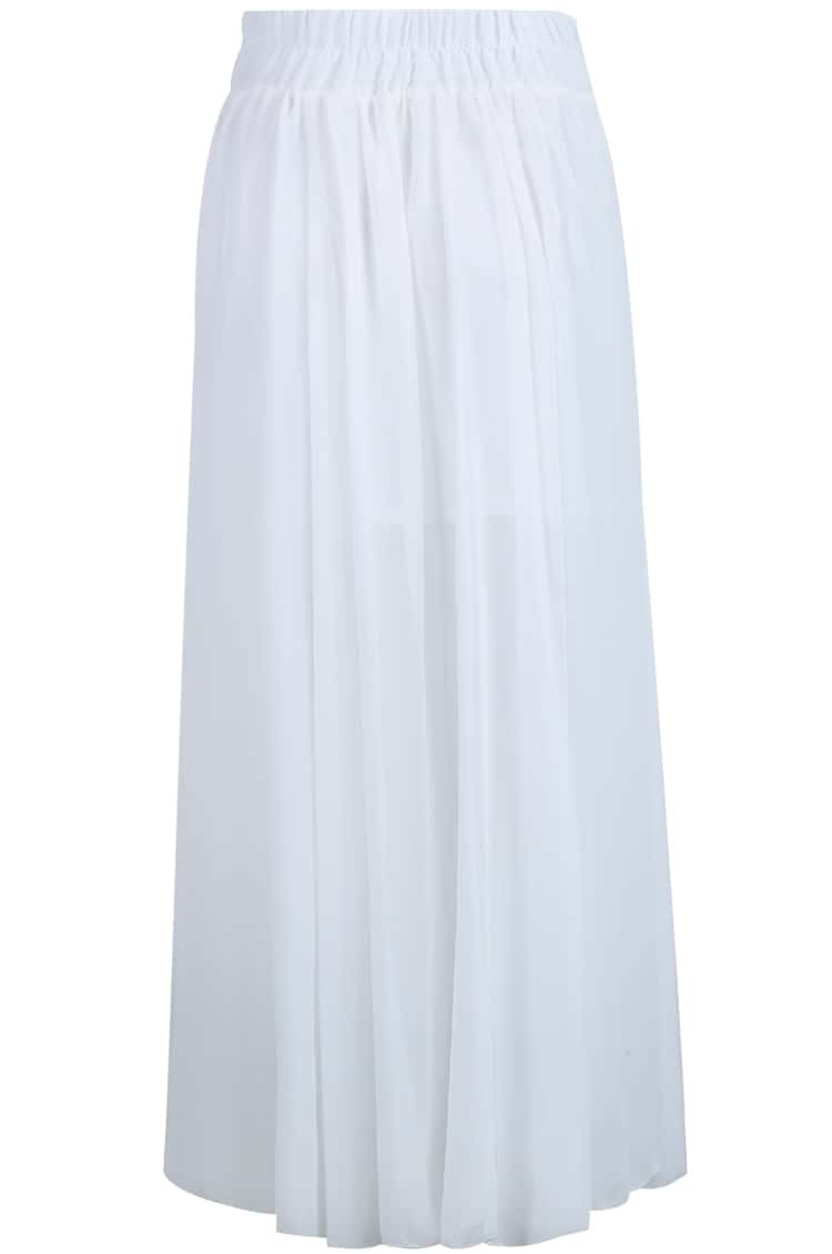 white simple pleated chiffon skirt shein sheinside