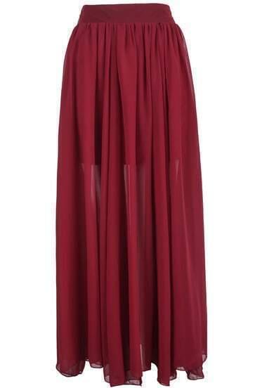 f2287f269 Red Simple Pleated Long Chiffon Skirt -SheIn(Sheinside)