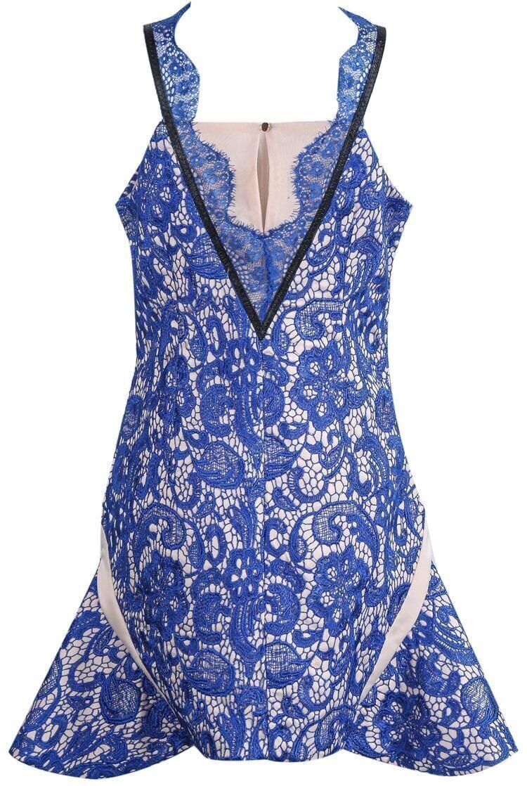 Blue spaghetti strap embroidered lace dress shein sheinside