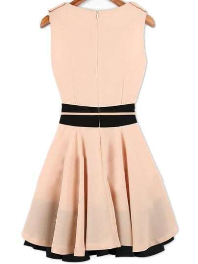 pink sleeveless ruffle belt chiffon dress shein sheinside