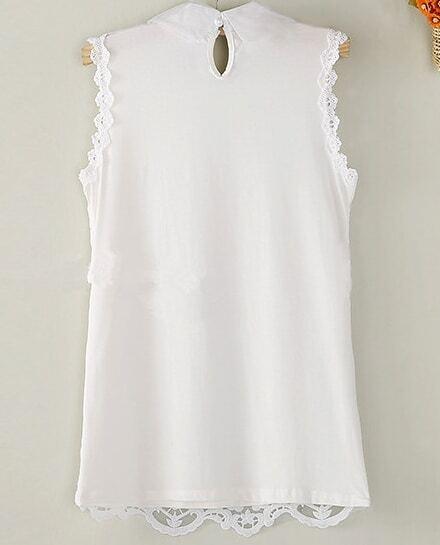 7c07dde6c232b Blusa encaje solapa perlas sin manga-blanco