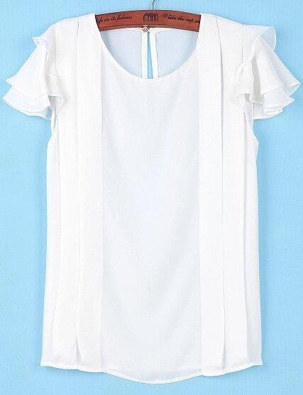 0eade49e6072a2 White Ruffle Short Sleeve Chiffon Blouse | SHEIN
