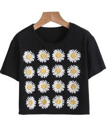 Black Short Sleeve Sunflowers Print Crop T-Shirt