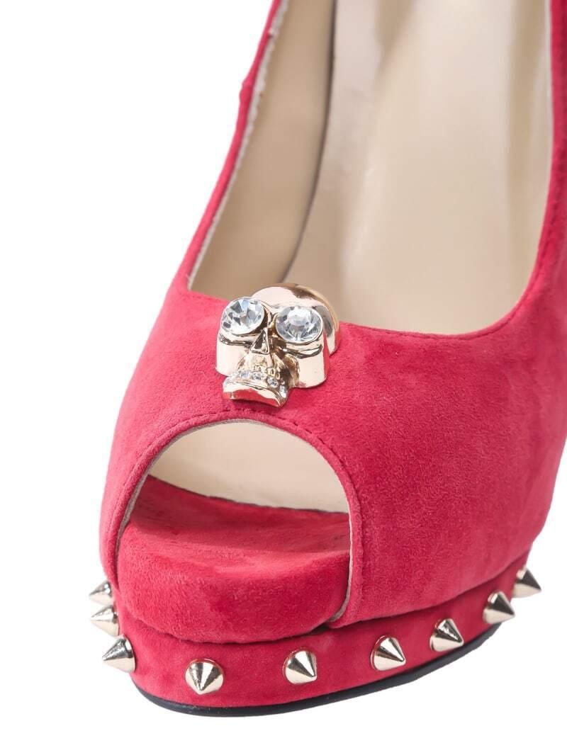 skull rivet high heel shoes shein sheinside