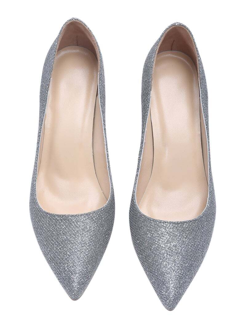 silver glitter sparkle point toe high heel shoes shein