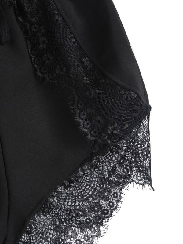 2682d05bea1 Black Elastic Waist Contrast Lace Shorts