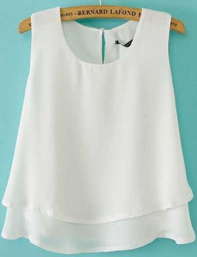 428b23decbf6b White Sleeveless Double Layer Chiffon Vest