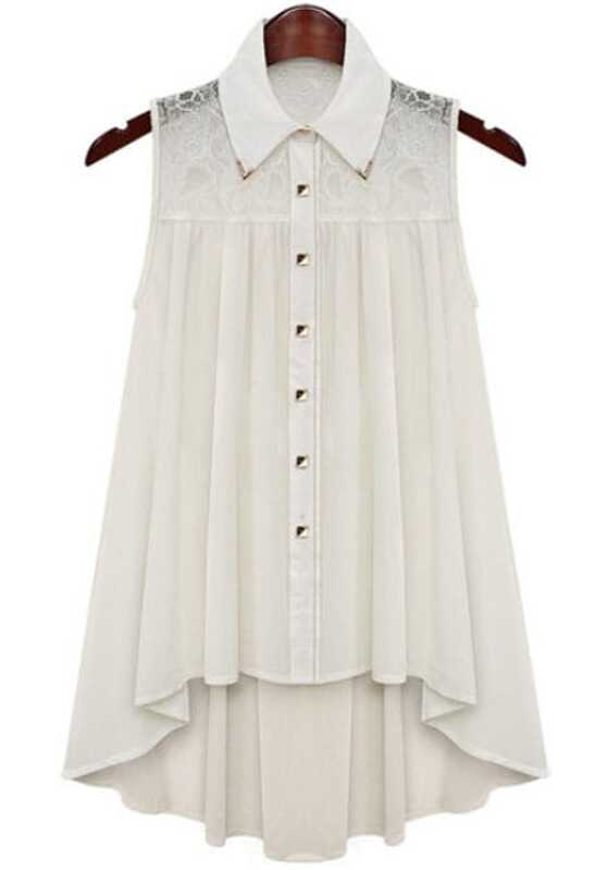 e070ba3005a White Contrast Lace Sleeveless Loose Blouse