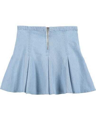 blue ruffle denim skirt shein sheinside