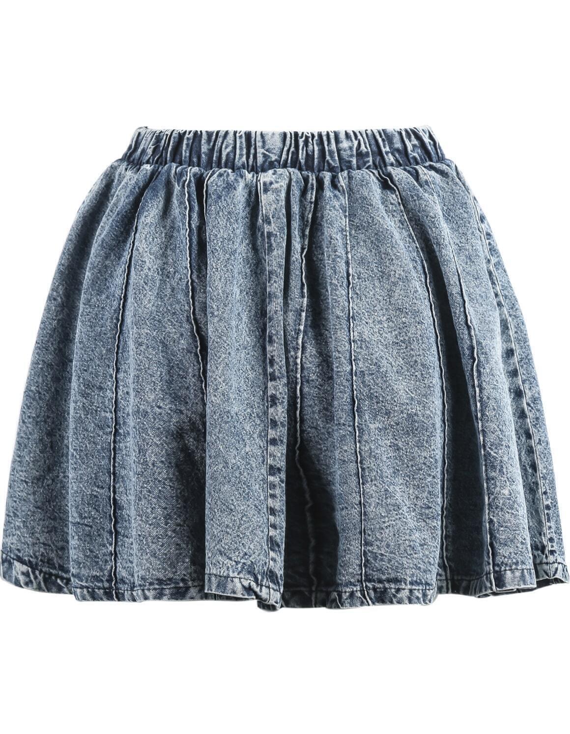 blue elastic waist pleated denim skirt shein sheinside