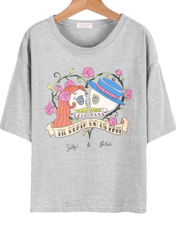 134fd68190 Grey Short Sleeve Skull Couple Print T-Shirt | SHEIN