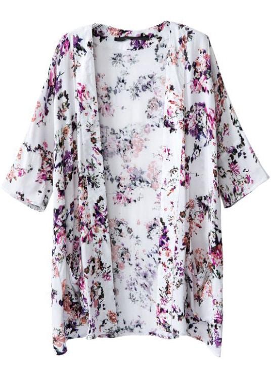 White Half Sleeve Floral Pockets Kimono -SheIn(Sheinside)