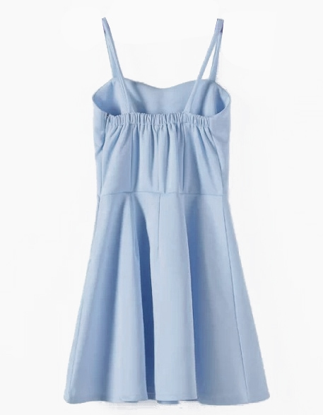 d8564f7a40 Light Blue Spaghetti Straps Skater Short Dress | SHEIN