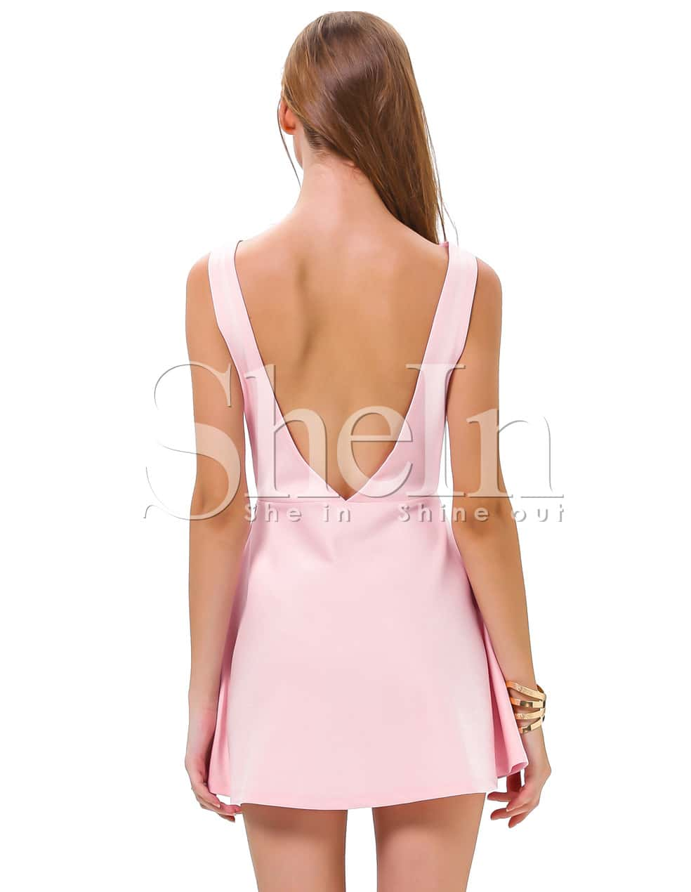 011277ca6529d Pink Sleeveless Backless Romantic Loved Lolita Ruffle Skater Dress ...