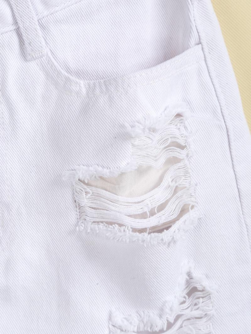 White Ripped Pockets Fringe Denim Skirt -SheIn(Sheinside)