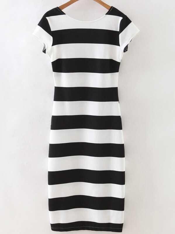 Black White Striped Short Sleeve Backless Dress Sheinsheinside