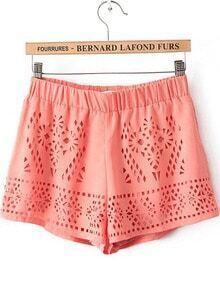 Orange Elastic Waist Hollow Chiffon Shorts